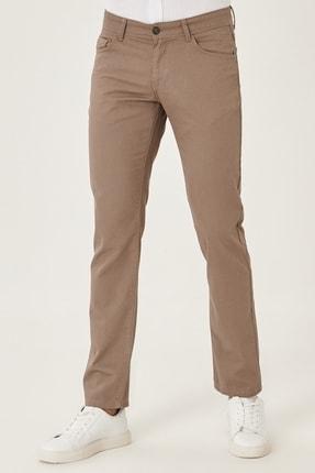 AC&Co / Altınyıldız Classics Erkek Vizon Kanvas Slim Fit Dar Kesim %100 Koton 5 Cep Pantolon