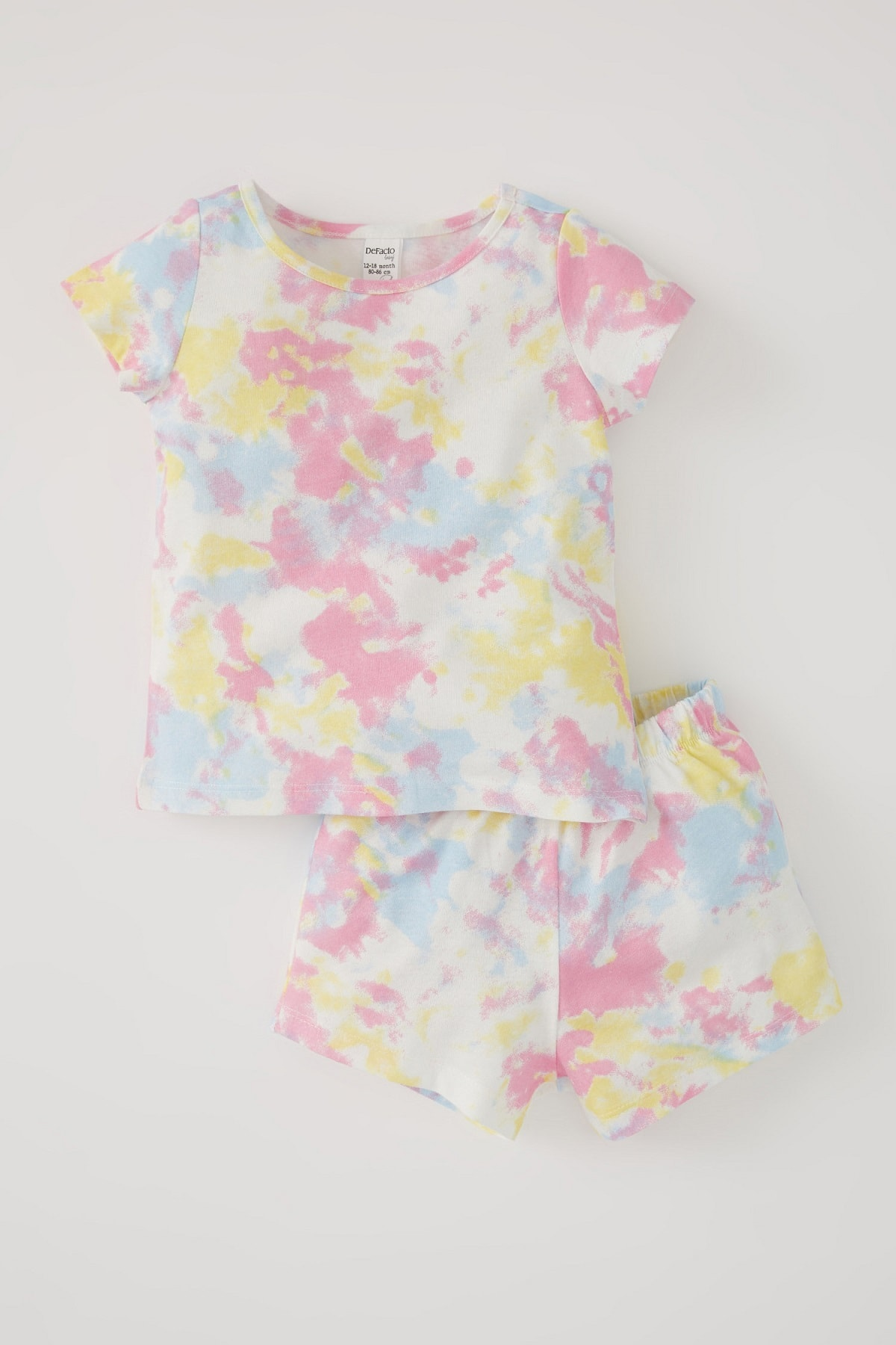 DeFacto Kız Bebek Batik Desenli Kısa Kollu Pamuklu Pijama Takımı U5701A221SM