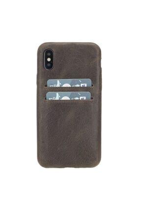 PLM Ultra Cover Cc Deri Telefon Kılıfı Kartlıklı Iphone X-xs Uyumlu Ro6 Kahve
