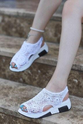 İmerShoes Kadın Örgü Triko Sandalet Yüksek Taban Spor Ayakkabı