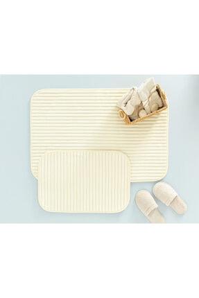 English Home Cord Fitilli 2'li Banyo Paspası Seti 60x90-40x60 Cm Açık Bej