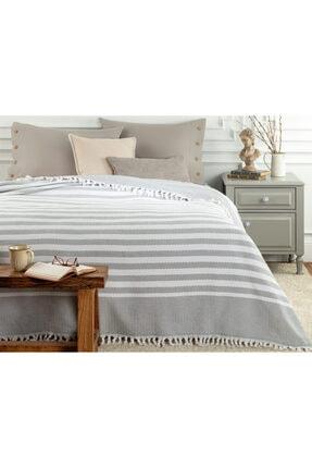 Madame Coco Sheryl Çift Kişilik Yıkamalı Yatak Örtüsü - Beyaz / Gri