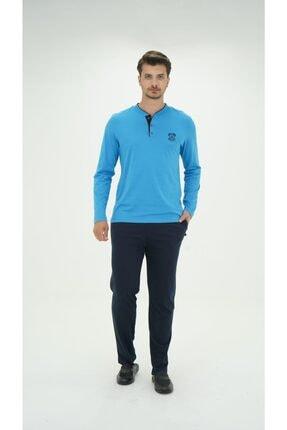 D'S Damat 1005 Erkek Uzun Kollu Pijama Takımı - Açık Mavi