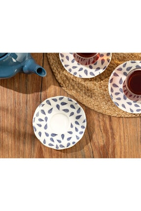 English Home Clover Leaf Porselen Çay Tabağı 12 Cm Beyaz - Mavi