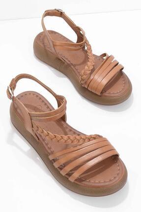 Bambi Taba Hakiki Deri Kadın Sandalet K05684903603