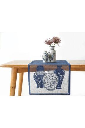 English Home Blue Blanc Örme Runner 45x150 Cm Lacivert