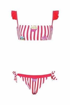 Kom Cake Çizgili Kız Çocuk Bikini Takımı