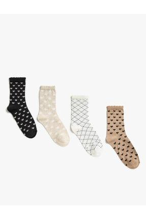 Koton Kız Çocuk A.Kahverengi Uzun Desenli Çorap Seti 4'Lü Pamuklu