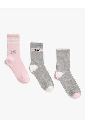 Koton Kız Çocuk Gri Uzun Desenli Sloganli Çorap Seti 3'Lü Pamuklu