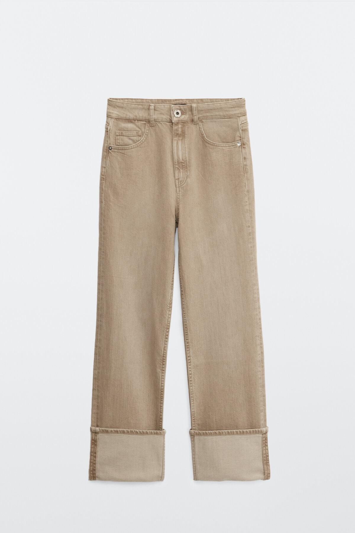 Massimo Dutti Kadın Kıvrık Paça Straight Fit Jean 05079661