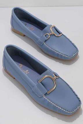 Bambi Mavi Kadın Loafer Ayakkabı K01542030509