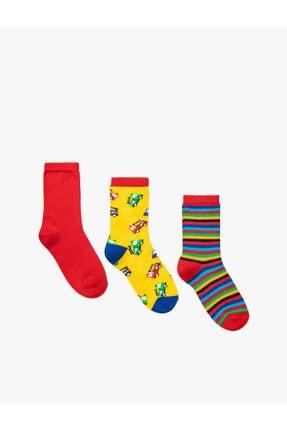 Koton Erkek Çocuk Sarı Uzun Desenli Çizgili Çorap Seti 3'Lü Pamuklu