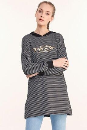 Fulla Moda Tırtık Çizgili Kapüşonlu Tunik