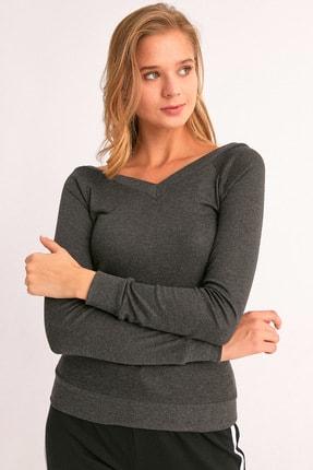 Fulla Moda Ön Arka V Yaka Sweatshirt