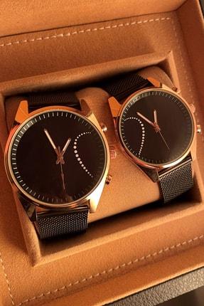 Gold Time Noktalı Kalp Desenli Sevgili Saatleri Çift Kombini