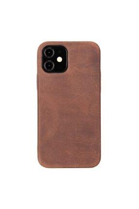 PLM Rock Cover Deri Telefon Kılıfı Iphone 12 G2 Kahve