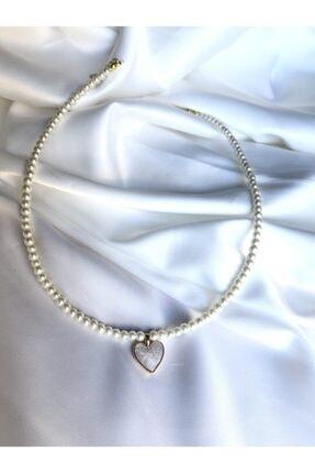 Claritas Takı Kadın Altın Kaplama Cam İnci Sedef Taşlı Kalp Kolye