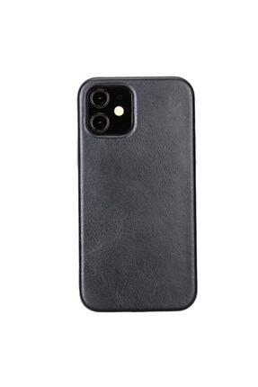 PLM Rock Cover Deri Telefon Kılıfı Iphone 12 Rst1 Siyah