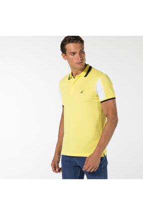 Nautica Nautıca Erkek Sarı Blok Desenli Slım Fıt Polo Yaka T-shirt