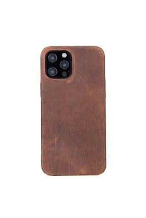 PLM Rock Cover Deri Telefon Kılıfı Iphone 12 Pro Max G2 Kahve