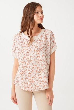 Chima Önü Yaprak Desenli Bluz