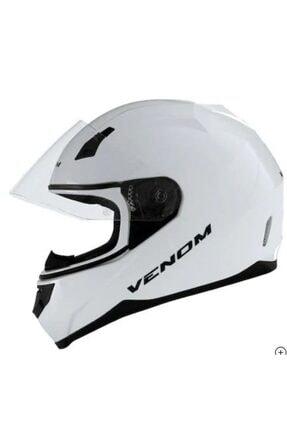VENOM Vf-391 Solıd Whıte Kapalı Motosiklet Kaskı