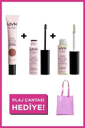 NYX Professional Makeup Plaj Makyajı Seti Bare With Me Luminious Cheek Serum+ Brow Setter+ Lip Conditioner + Plaj Çantası