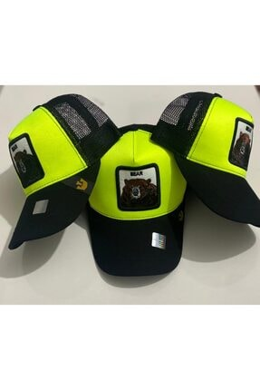 Dışkaya Hayvan Figürlü Boz Ayı Şapka Fosforlu Yeşil Arkası Fileli Model Şapka Trend