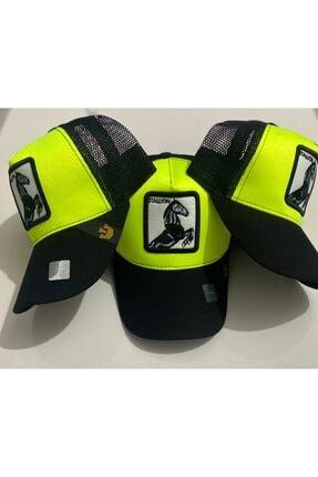 Dışkaya Hayvan Figürlü At Şapka Fosforlu Yeşil Arkası Fileli Model Şapka Trend