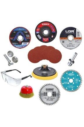Badem10 Spiral Avuç Içi Taşlama Cırt Zımpara Ahşap Inox Metal Mermer Kesici Kesme Flap Disk (18 Parça)