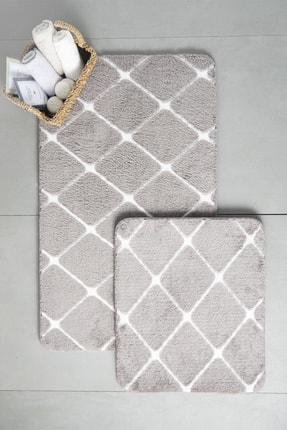 English Home Tile Polyester Banyo Paspası Seti 60x100 - 50x60 Cm Koyu Mürdüm