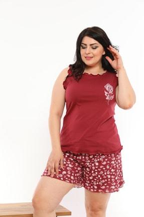VİENETTA Kadın Bordo Baskılı Pijama Takımı