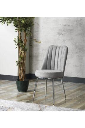 AVVİO Gold Sandalye- Yemek Masası Sandalyesi - Mutfak Masası Sandalyesi Gri Renk- Metal Krom Ayak