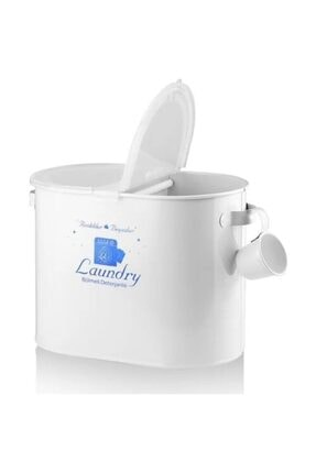 Laundry Metal Iki Bölmeli Plastik Kapaklı Ve Ölçekli Deterjan Kutusu 12 Litre Kapasiteli