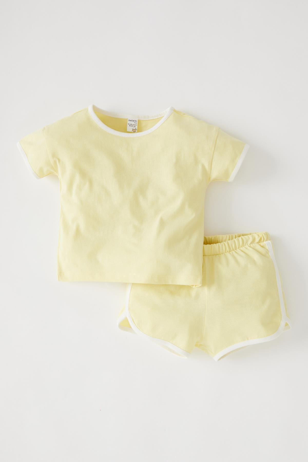 DeFacto Sarı Kız Bebek Kısa Kollu Tişört Ve Şort Takımı V6348A221HS