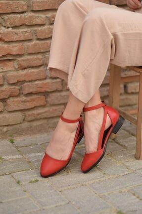 MaskButik Rayna Kısa Topuk Cilt Ayakkabı Kırmızı