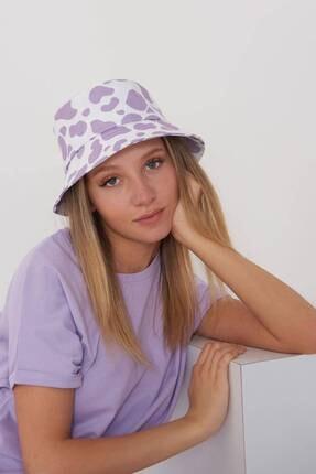 Addax Kadın Lila Beyaz Şapka Şpk1045 - E1 Adx-0000023856