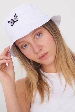 Addax Kadın Beyaz İşleme Detaylı Şapka ŞPK1021 - AKS ADX-0000022487