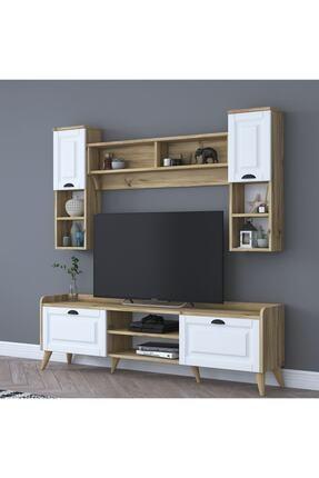 Rani Mobilya Rani Aa101 Duvar Raflı Kitaplıklı Modern Tv Ünitesi Tv Sehpası Beyaz Keçe Ceviz M2