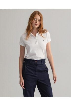 Gant Kadın Regular Fit Pique Beyaz Polo T-shirt