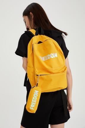 DeFacto Kadın Sarı Yazı Baskılı Kalemlikli Çanta
