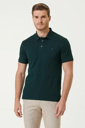 Network Erkek Slim Fit Yeşil Polo Yaka Logolu T-shirt 1078389