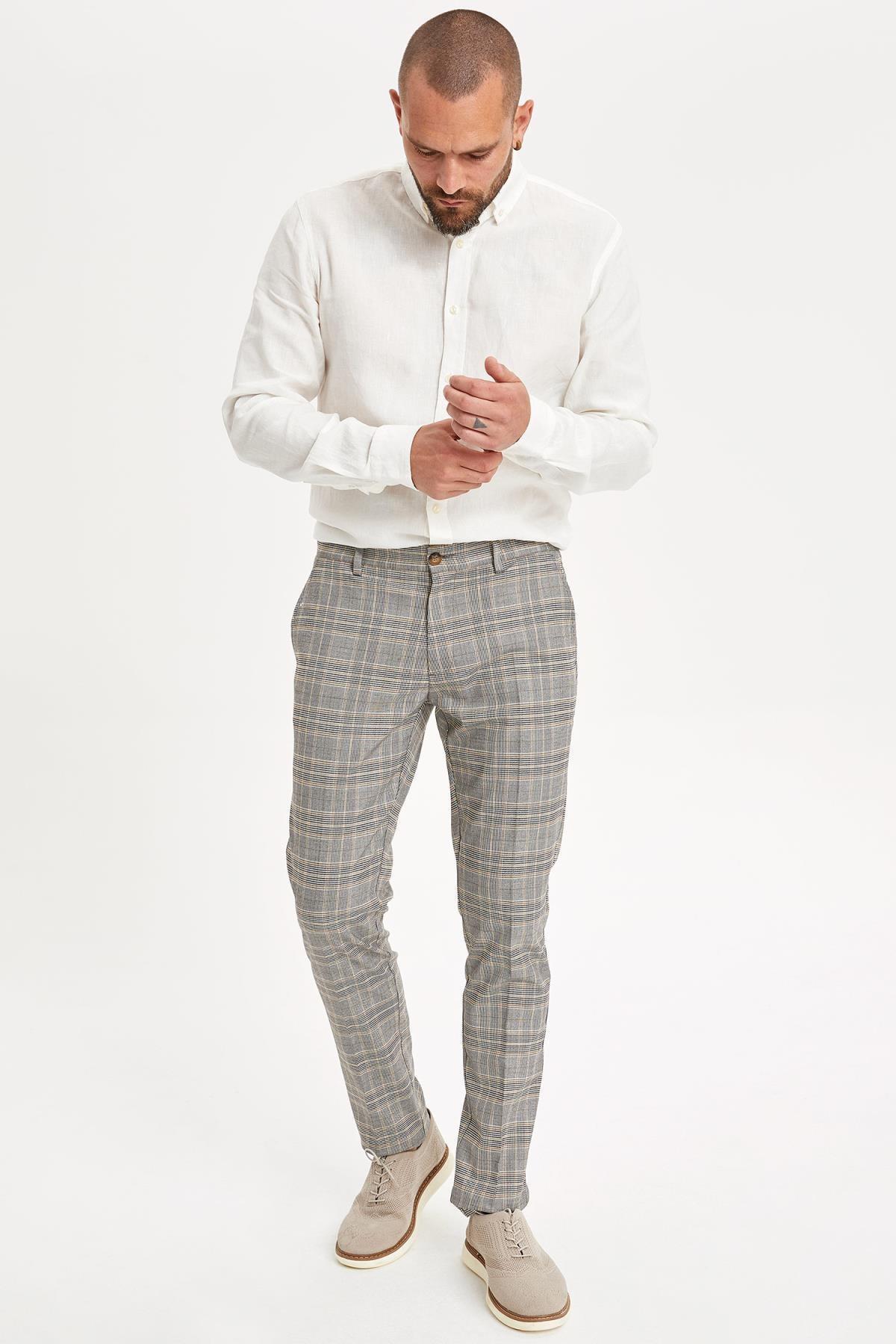 DeFacto Erkek Kahverengi Kareli Pantolon L6774AZ.19HS.BN207