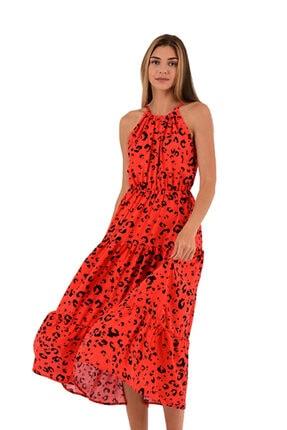 Modagusto Nar Çiçeği Halter Yaka Beli Lastikli Elbise