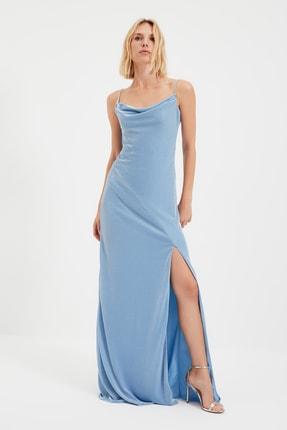 TRENDYOLMİLLA Koyu Mavi Askı Detaylı Abiye & Mezuniyet Elbisesi TPRSS19UT0102