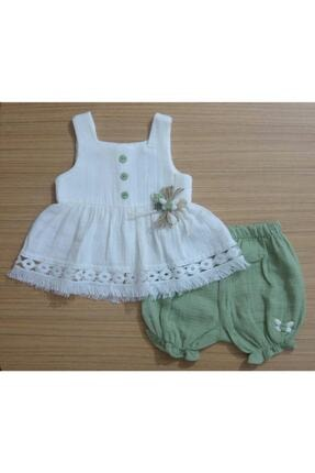 Dandini Kız Bebek Müslin Kumaş Kaprili Dantelli Yeşil Organik 2'li Takım