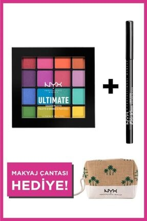 NYX Professional Makeup Festival Makyajı Seti Ultimate Shadow Palette + Epic Wear Liner Stick +makyaj Çantası
