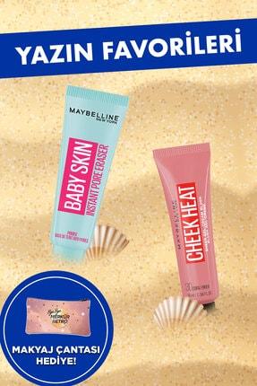 Maybelline New York Baby Skin Gözenek Gizleyici Makyaj Bazı &Cheek Heat Likit Allık 30 Coral Ember Şeftali Makyaj Seti