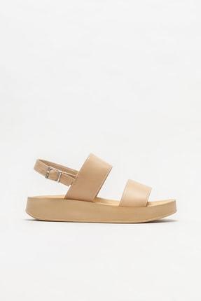Elle Shoes Naturel Kadın Dolgu Topuklu Sandalet