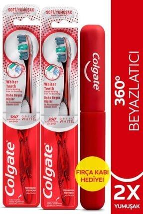 Colgate 360 Gelişmiş Optik Beyaz Yumuşak Beyazlatıcı Diş Fırçası X 2 Adet + Diş Fırçası Kabı Hediye